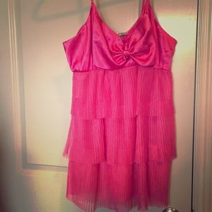 VS Ruffle Babydoll Lingerie-hot pink